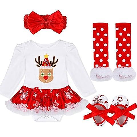 YIZYIF 4PCS S-XL Navidad Traje Mameluco + Una Cinta Para Pelo + Leg Warmers + Zapatos Para Bebé-Niñas 3-18 Meses