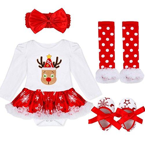 YIZYIF Ropa de Navidad 4 Piezas Traje Mameluco + Una Cinta Para Pelo + Calentador de Pierna + Zapatos Para Bebé-Niñas 3-18 Meses Blanco&Rojo con Navidad Ciervos S