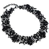Damen schwarz Statement Kette Bling Halskette Collier Modeschmuck