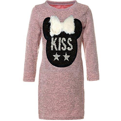 BEZLIT Mädchen Wende-Pailletten Tunika Extra Long-Shirt Bluse Langarm 21583, Farbe:Rosa,...