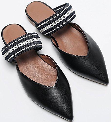 Calaier Femme Caalmost 2CM Bloc Glisser Sur Mules et sabots Chaussures Noir