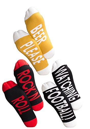Clark Crown 3 Paar Under-Statement-Socks, Herrensocken mit witzigen Sprüchen im Geschenk-Säckchen