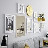 DD Foto wand Fotorahmencollage Fotowand stellte einfache moderne Wanduhrkombination ein hölzernes Fotorahmen kreatives an der Wand befestigtes Wohnzimmer Hintergrundwanddekoration ( Farbe : All white )