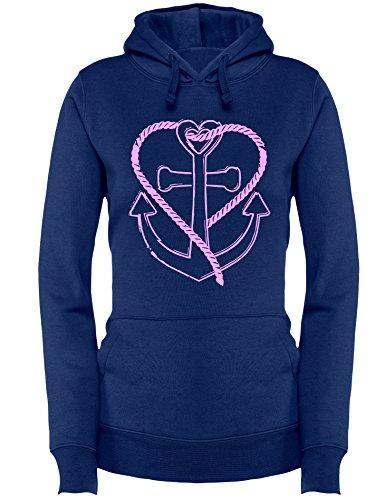Anker mit Tau in Herzform - Damen Hoodie Navy/Rosa