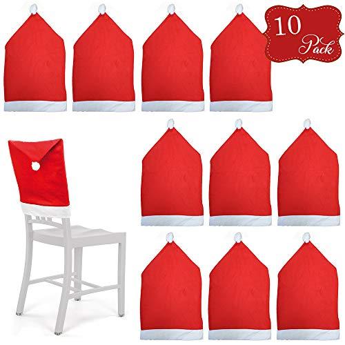 10 Fundas protectoras para sillas temáticas de Navidad - Rojo y blanco con pompones - Perfecto para fiestas y celebraciones...