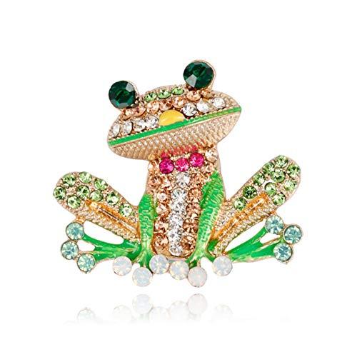 CCJIAC Strass Grüner Frosch Brosche Unisex Niedlichen Tier Brosche Frauen Männer Kleid Mantel Zubehör Ornament Zubehör