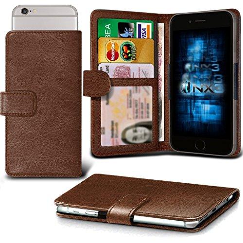 (Brown) Huawei Ascend Y540 Hülle Abdeckung Cover Case schutzhülle Tasche Verstellbarer Feder Mappe Identifikation-Kartenhalter-Kasten-Abdeckung ONX3