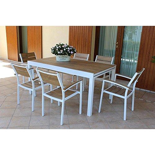 MilaniHome Set Tavolo Giardino Allungabile Rettangolare 200/300 X 100 con 8 Poltrone in Alluminio Bianco E Polywood da Esterno