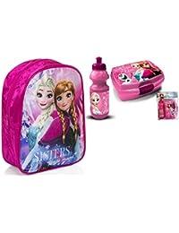Preisvergleich für Frozen Disney Die Eiskönigin 3'er Set Rucksack Trinkflasche+Brotdose/Lunchbox