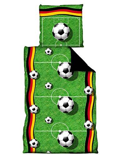 """Fußball Bettwäsche 135x200 / 80 x 80 cm \"""" Spielfeld \"""""""