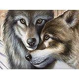 Binggong 5D Stickerei Gemälde Strass eingefügt DIY Diamant Malerei Kreuzstich Hund Katze Tiger Wolf Tiere Painting Dekoration 20*25cm (20*25cm, J)