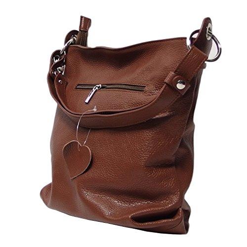 Ital Echt Leder Damentasche Handtasche Shopper Schultertasche (grün) braun