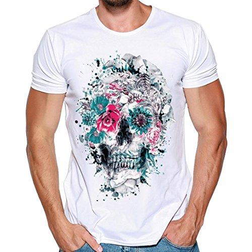 MRULIC Herren Fashion T-Shirt Einfaches Shirt Sommer Skull Pattern Weiß Tops(D-Weiß,EU-42/CN-M)