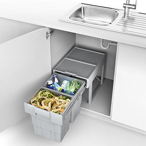 So-tech® sistema di separazione rifiuti secchio della spazzatura 2 x 16 litri da 400 mm di larghezza porta con contenitore telescopico
