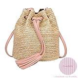 Evedaily Umhängetasche Damen Stroh Sommer Strandtaschen Mit Quasten Weben Crossbody Tasche Frauen Weben Geldbörse gestrickte Beach-Handtasche Drei Farben (Pink)