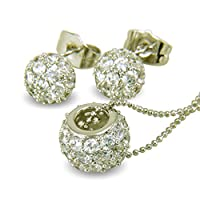 Glitter Ball Necklace and Earring Set 9ct White Gold Filled Simulated White Diamond Half Ball Stud Earrings