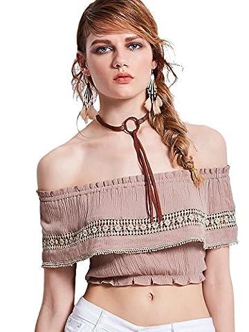 Bohoartist Slash Neck Off Shoulder Pink Geometric Pattern Patchwork Women