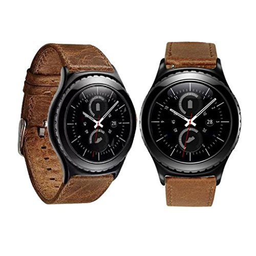 Pour Samsung Bracelet Accessoires ,Fulltime® Luxe Véritable remplacement de bracelet en cuir bande de poignet pour Samsung Galaxy Gear S2 Classic Wristband (marron)