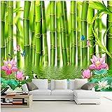 3D Fototapete Für Wände 3 D Lotus Blume Bambus Wald Wandmalerei Wohnzimmer Schlafzimmer Wandbild Tapete Wohnkultur XXL 300X642CM