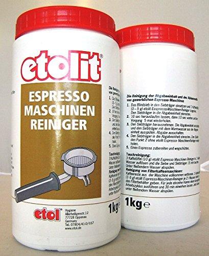 Etolit Kaffeefettlöser,Brühgruppen Espressomaschinen Reiniger 1 x 1Kg entfernt Tee +...