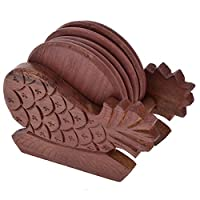 SRH Wood Brown Color Coaster Set (6 Pieces) - 25 cms