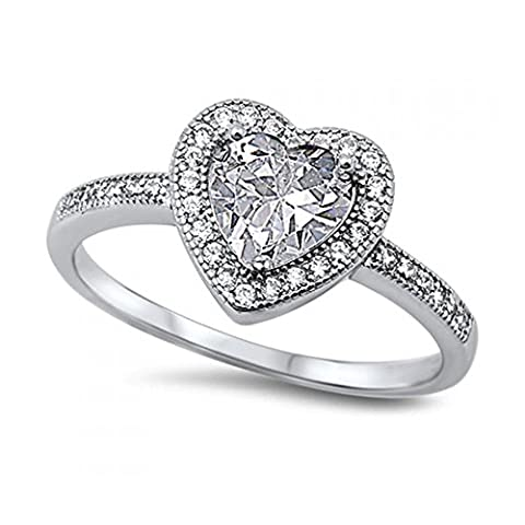 925 Sterling Silver Heart Shaped Cubic Zirconia Ring (J 1/2)