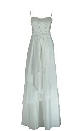 Samtlebe® - Taft Brautkleid / Abendkleid elegant C642 1-teilig lang in Weiß  Gr. 34-50 inkl. Stola