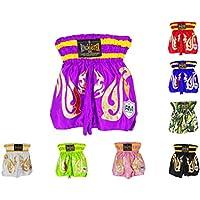 Pantalones cortos de entrenamiento Thai y Kickboxing para niños, entrenamiento, boxeo, MMA, RingMaster UK., Infantil, color morado, tamaño XS