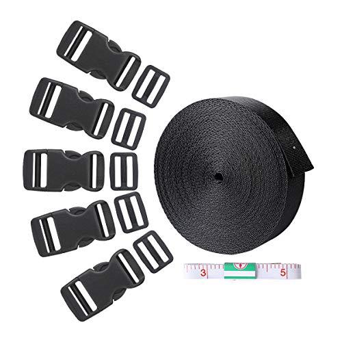 Gurtband, 10Meter Nylon Gurtband mit 15Set Flache Seite Release Schnallen und 15Stück Tri-Glide Folien 1Lineal Gurtband Klebeband für DIY Craft Tasche Rucksack, Gepäck -