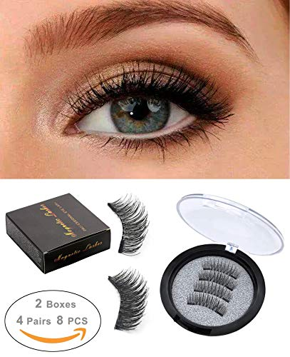 bdd55921a60 ROWNYEON Magnetic Eyelashes Dual Magnetic False Eyelashes - Ultra Thin 3D  Fiber Reusable Best Fake Lashes Extension for Natural, Perfect for Round  Eyes ...