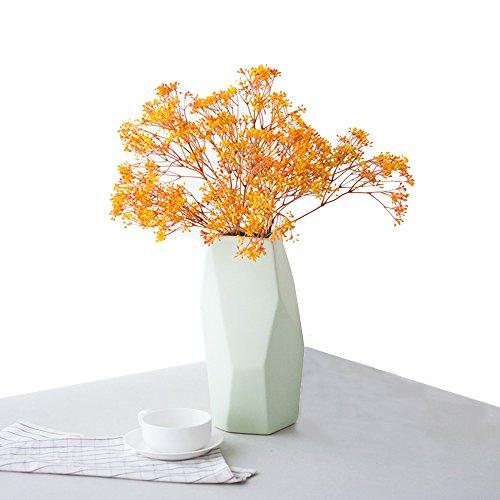 Keramik Blumenvase, handingsm handgefertigt Porzellan moderne Deko Vase für Zuhause, Wohnzimmer, Küche, Büro, Hochzeit (Grün-L)