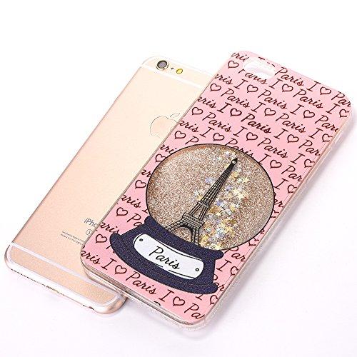 iPhone 6 Plus/6S Plus Coque avec Bling Diamant et Quicksand, Voguecase TPU avec Absorption de Choc, Etui Silicone Souple, Légère / Ajustement Parfait Coque Shell Housse Cover pour Apple iPhone 6 Plus/ Cristal Tour/Or
