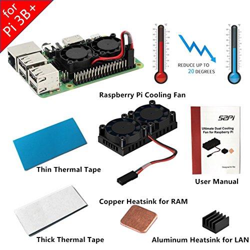 Nouvelle version! GeeekPi Raspberry Pi 3B + ventilateur double ventilateur de refroidissement avec 2 Pack de bande thermique Kit de refroidissement pour Raspberry Pi 3/2 modèle B / B +, convient à Retroflag Nespi cas et NESPI CASE Plus (V2.0 pour Pi 3B +)