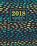 Agenda: 2018 Agenda settimanale italiano : 19x23cm : Fantasia verde acqua, giallo e turchese: Volume 7