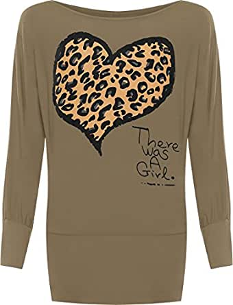 Ladies Animal Heart Print Batwing Womens Stretch Leopard Long Sleeve Top Brown 8/10