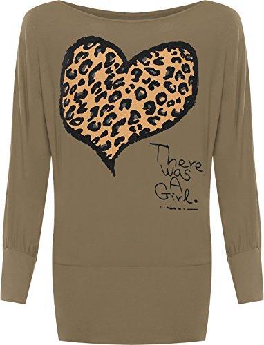 WearAll - Damen Übergröße Leopard Tier Herz Motiv Druck Fledermausärmel Top - Mokka - 48-50 (T-shirt Off Walk)