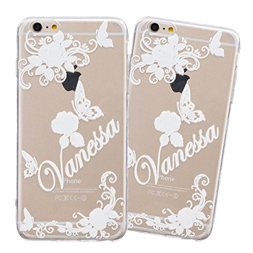 iPhone 6 Hülle, E-Lush Beliebte Lace Flower Muster für Apple iPhone 6 6S (4.7 zoll) Telefonkasten TPU Silikon Rand Acryl Rückseite Abdeckung Handyhülle Clear Transparent Schutzhülle Weiche Flexibel Ha Vanessa