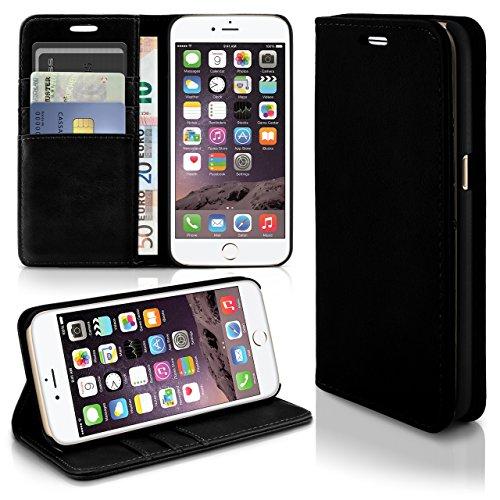 Schwarz Klappen (iPhone 6S Hülle Schwarz mit Karten-Fach [OneFlow Book Klapp-Hülle] Etui Schutzhülle Handytasche Kunst-Leder Handyhülle für iPhone 6/6S Case Flip Cover)