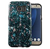 Samsung Galaxy S6 Edge Silicone Inner & Outer Hülle 2-Teilig, Doppellagig: PC + TPU Robuste Handyhülle Case Cover Dark Green Colourful Marble Stone Print