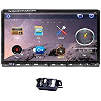 Rear Camera Included 7-Inch Double Din GPS Car Stereo In Dash Head Unit Car DVD Player with Touch screen LCD Monitor Multimedia System Support DVD/CD/MP3/USB/SD/AM/FM/RDS Radio/Hands Free Bluetooth/Stereo/Audio and GPS Navigation Sat Nav Autoradio with HD:800*480 LCD+Win 6 Operation System+Free GPS Map+Analog TV