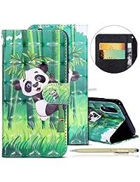 Herbests Huawei P20 Lederhülle Glitzer 3D Glänzend Bunt Muster Hülle Leder Tasche Bookstyle Brieftasche Schutzhülle Flip Case Cover Handytasche,Panda