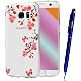 Coque Samsung Galaxy S7 Edge, Yokata Case Transparente Motif Design Housse Kawaii Cartoon Étui Clair Soft Doux TPU Silicone Flexible Backcover Ultra Mince Crystal Coque + 1*Stylet - Fleur de Pêche