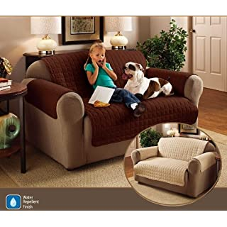 2 Seater Sofa Protector Chocolate Brown 46 x 70.5 Water Resistant Quilted by Ashley Mills