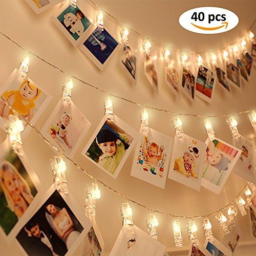 40 LED Foto Clips Lichterketten Timmer Draußen Lichterkette Batteriebetrieben Innen für Weihnachten Kinder Warmweiß 8 Funktionstyp Wasserdicht Stimmungsbeleuchtung Dekoration für Hängened Foto Memos Kunstwerke 4,6 Meter von DOJOY
