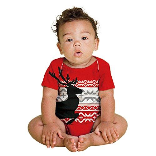 BURFLY Kinderkleidung ♥♥Kleinkind Neugeborene Baby Weihnachten Elche Gedruckt Spielanzug Overall Outfits Kleidung (6 Monate, Rot) (Baumwollsamt Gedruckt)