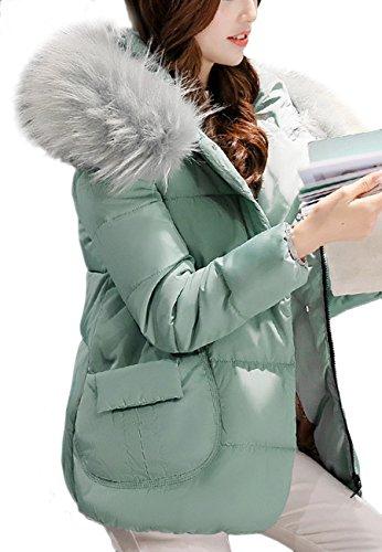 OMZIN Frauen Mid-length Classic Padded Pelzbesatz Kapuze Taschen Daunenmantel Grün M (Mantel Für Frauen, Canada)