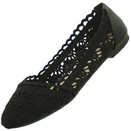 Kayla Shoes© modische Tred Slipper im Ballerina Design (Leder Flach Ballett Gesteppte)