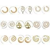 9paia di orecchini dorati a spirale in stile bohemien, vintage e tribale da donna