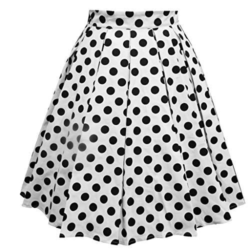 b9fdd8e6a1532b Longzjhd Damen Elegant Polka dot Retro Vintage Swing Röcke Faltenrock  Knielang A-Linie Hohe Taille Rockabilly Tanzkleid Party Hochzeit Printed  Mid Skirts
