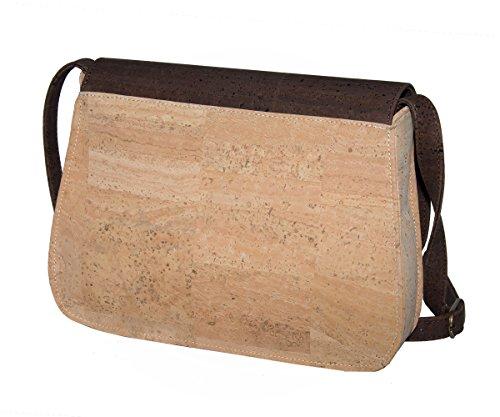 CorkLane Damen Handtasche Kork Umhängetasche Schultertasche Kurier Korkleder vegan aus Portugal Natur Beige - Braun - 2
